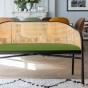 Banquette Cavallo noire velours vert amande