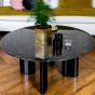Table basse Carlotta pieds laques noir et marbre noir