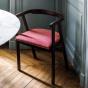 Chaise Milano bois brun velours côtelé rose