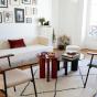 Table basse Carlotta pieds laques rouge et verre