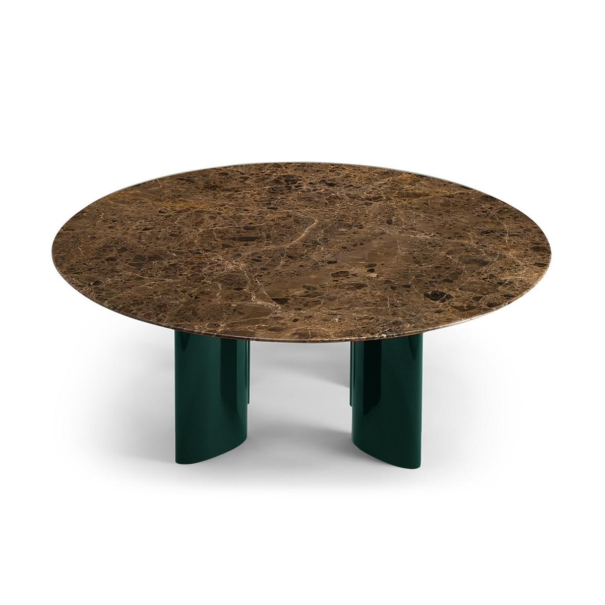 Table basse Carlotta pieds laques vert et marbre marron