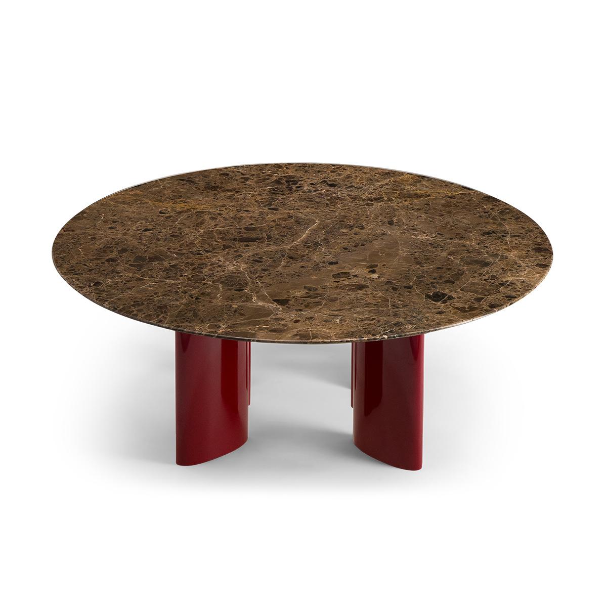 Table basse Carlotta pieds laques rouge et marbre marron