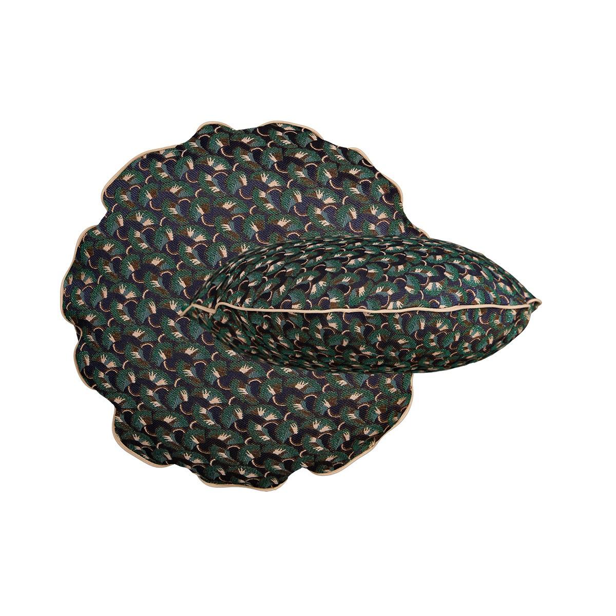 Coussin Bomboloni motif précieux vert