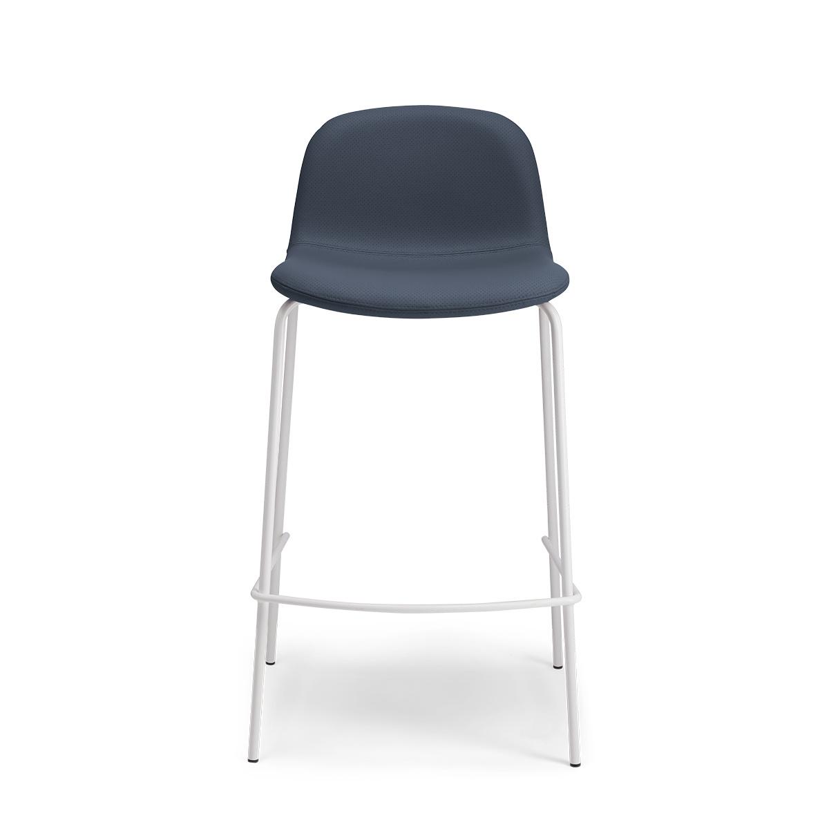 Chaise de bar Monza pieds blancs cuir perforé bleu marine
