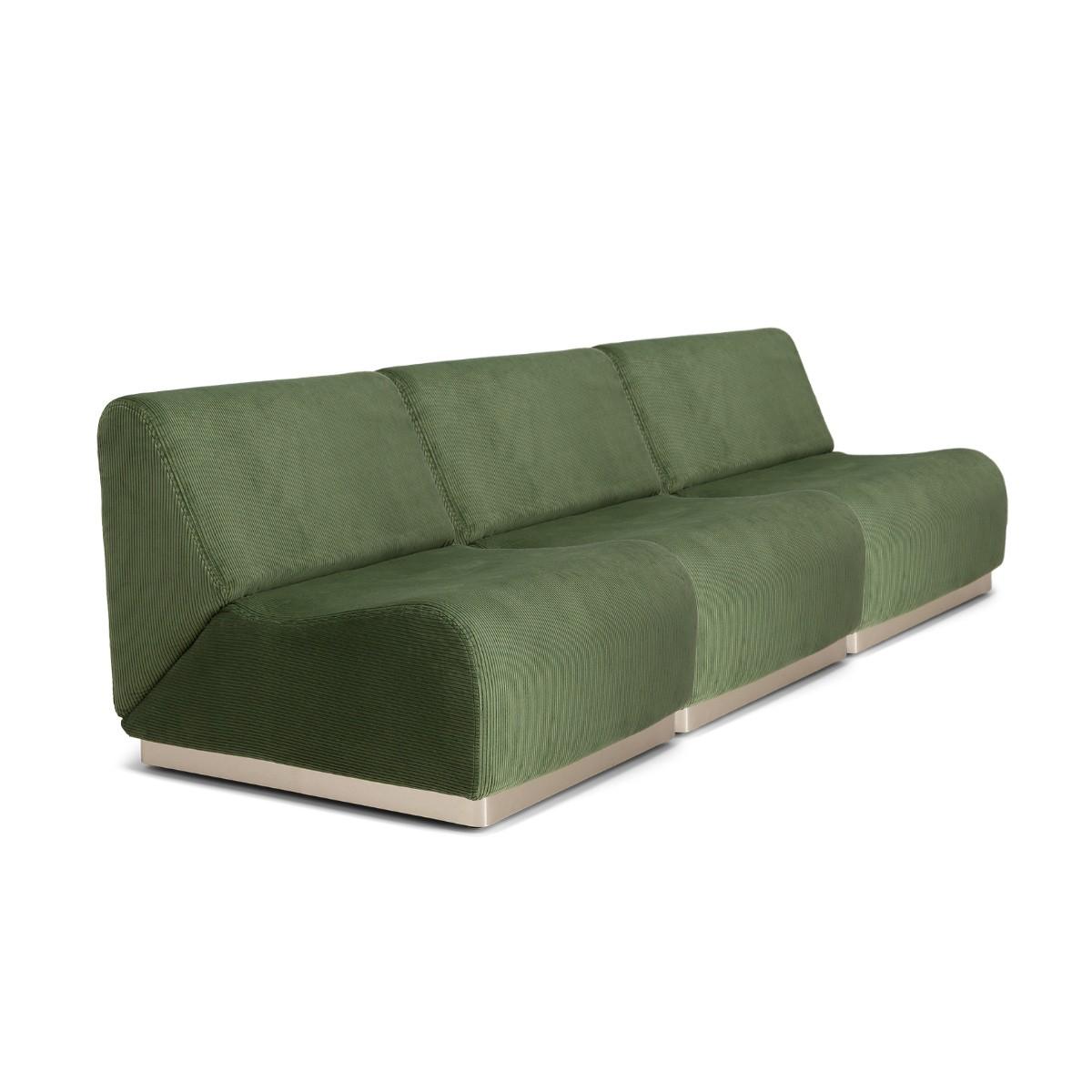 Canapé modulable Rotondo velours côtelé vert amande