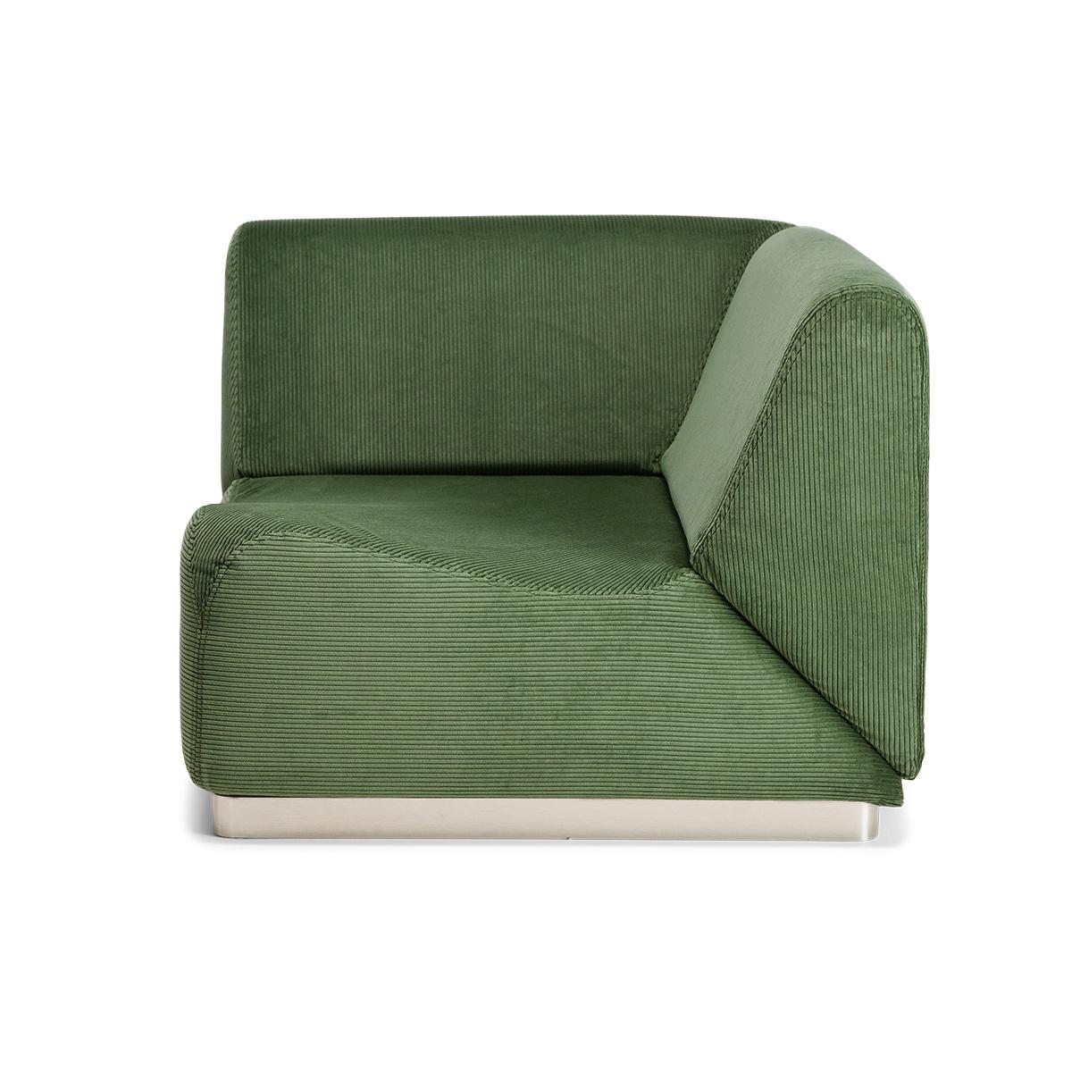 Module d'angle Rotondo velours côtelé vert amande