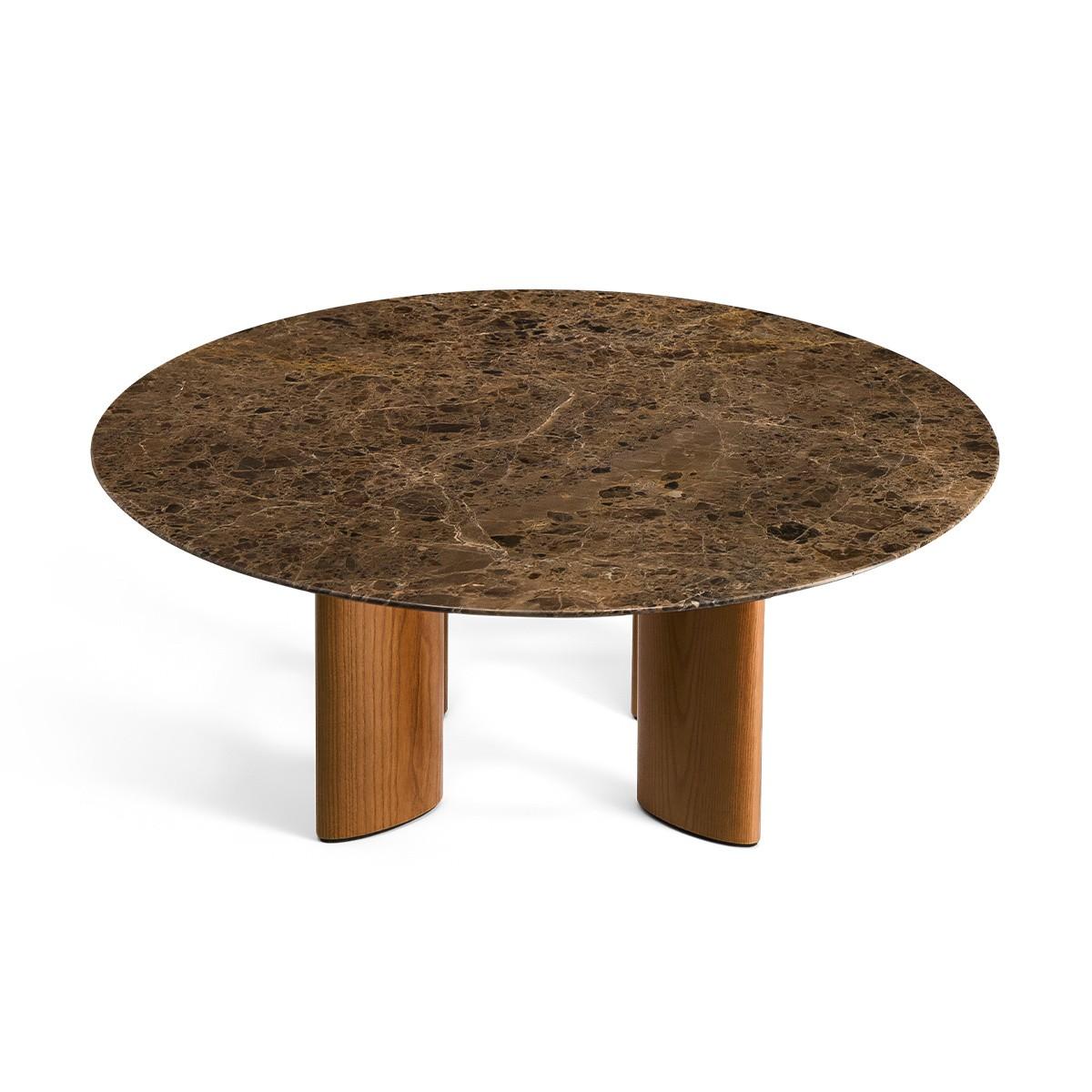 Table basse Carlotta pieds frêne finition iroko et marbre marron
