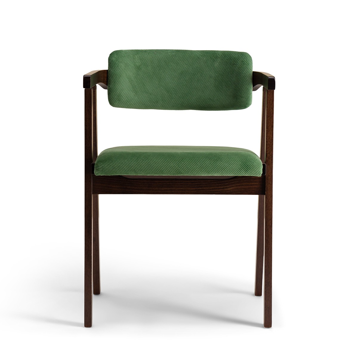 Chaise Milano bois brun velours côtelé vert amande