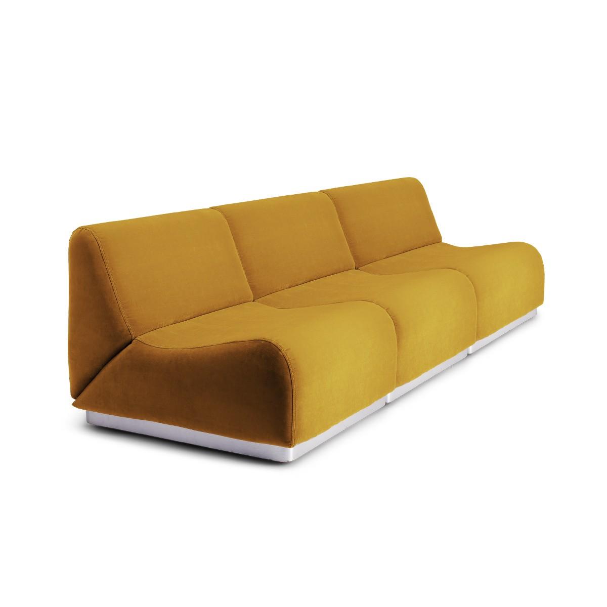 Canapé modulable Rotondo velours moutarde