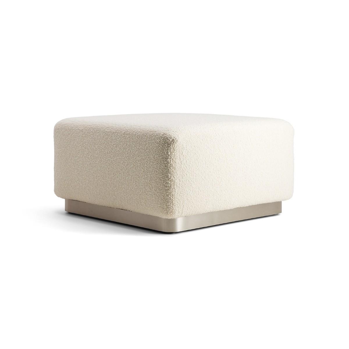 Pouf Rotondo laine bouclette blanc crème