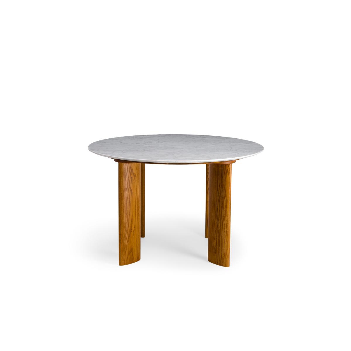 Table de salle à manger Carlotta Alta marbre blanc et pieds frêne finition iroko -  4 places