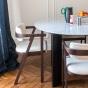 Table de salle à manger Carlotta Alta marbre blanc et pieds noirs - 8 places