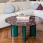 Table basse Carlotta pieds laqués vert et marbre rouge