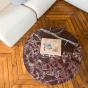 Table basse Carlotta pieds frêne finition iroko et marbre rouge