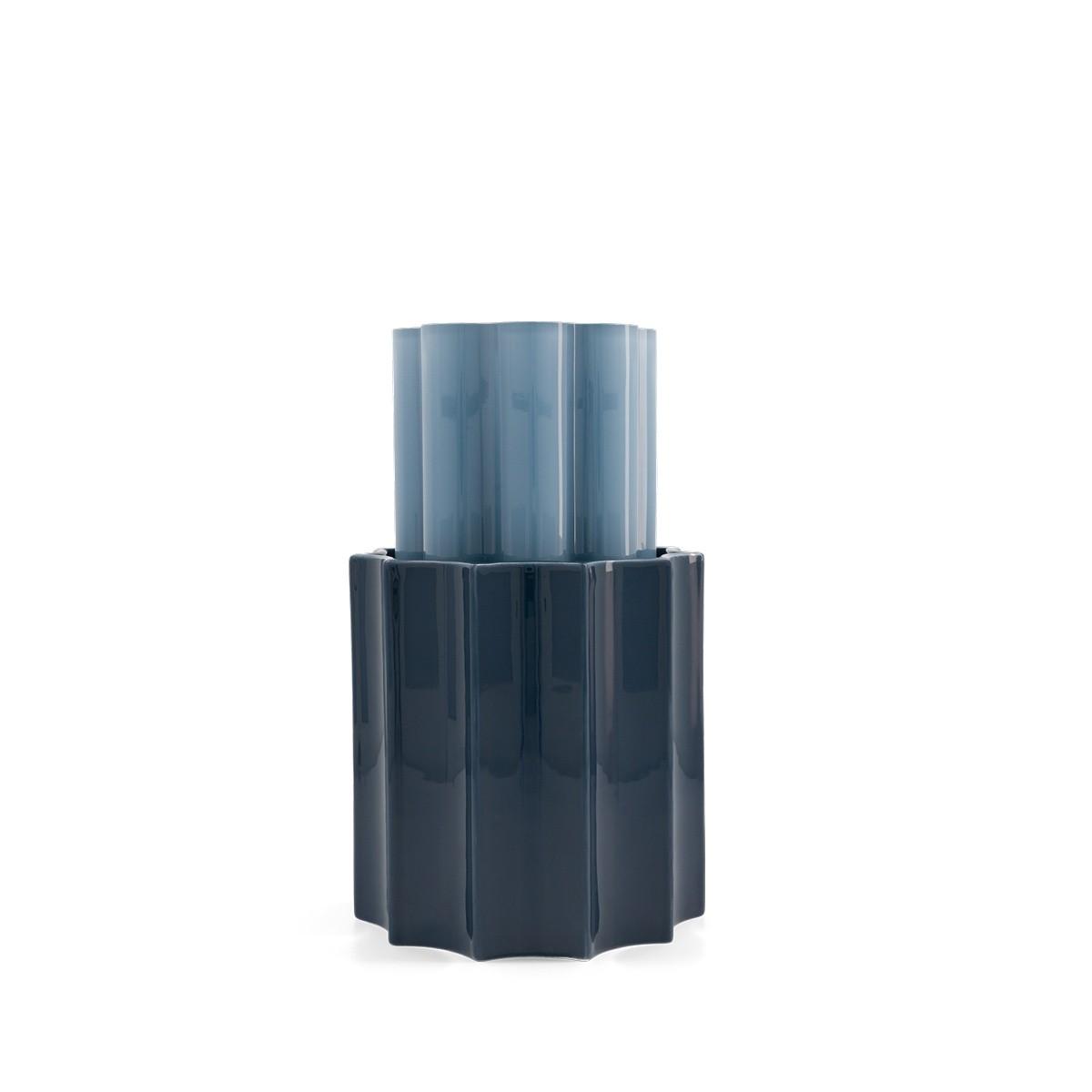 Vase Duetto bleu orage et bleu foncé