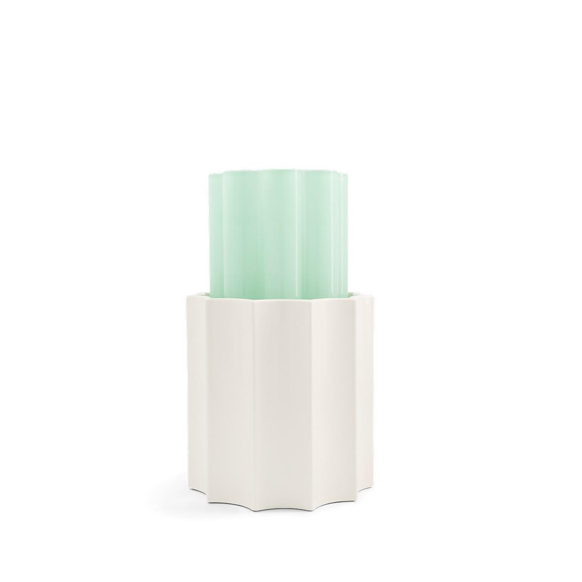 Vase Duetto vert anis et blanc