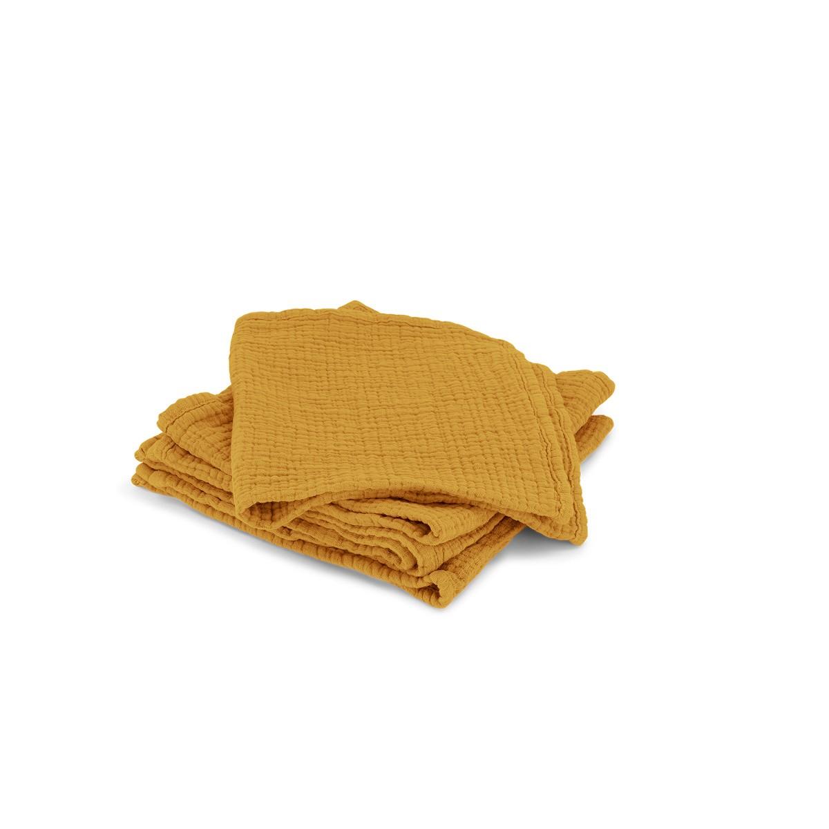 Set de 4 serviettes Allegra en gaze de coton moutarde
