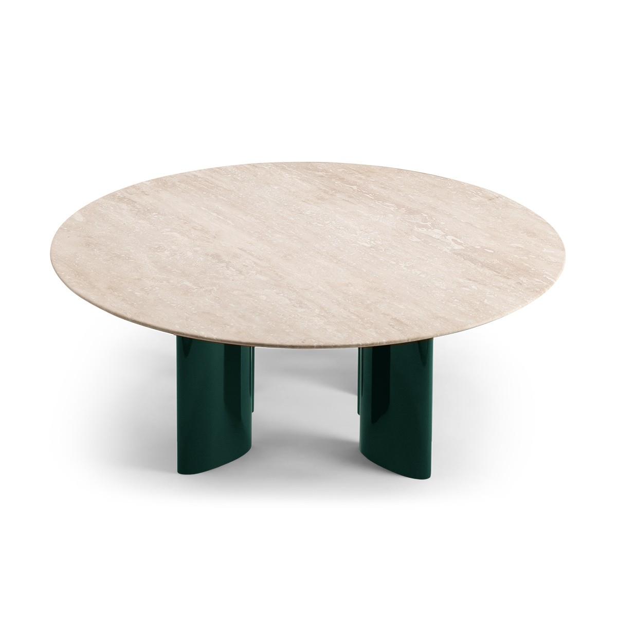 Table basse Carlotta pieds laques vert et travertin